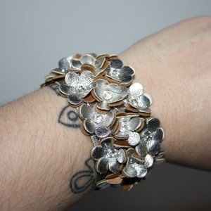Silver and rhinestone leather cuff bracelet